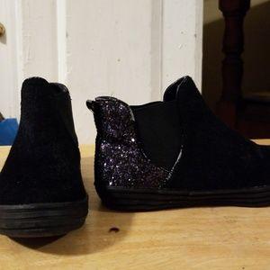 Girls Size 13 Black and Sparkle Slip on Sneaker